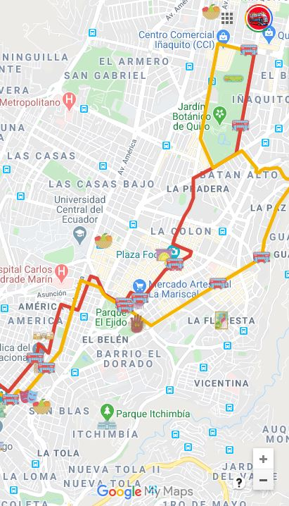 mapa de atracciones de Quito